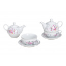 Teiera set rose decor porcellana rosa / rosa 3