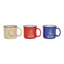 Mug Christmas decor of stoneware multicolored 3-fo