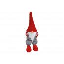 Großhandel Dekoration: Kantenhocker Wichtel aus Textil Rot, grau (B/T) 22
