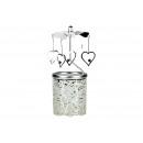 Lanterna di vetro con cuori di fissaggio in metall