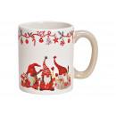 Tazza decoro elfo natalizio in ceramica bianca (B.