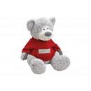 Großhandel Puppen & Plüsch: Plüschbär mit Pullover Grau/Rot (B/H/T) 53x60x57cm