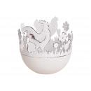 Tealight holder pollo decor metallo bianco (B / H