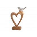 grossiste Decoration et jardin et eclairage: Presentoir Cœur en bois de manguier avec soutien-g