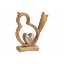 grossiste Jardin et bricolage: Presentoir Oiseau avec coeur en bois de manguier,