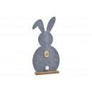 Coniglio su supporto in legno di feltro Grigio (B