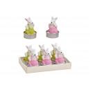 Set Tealight Coniglio 4x6x4cm Set colorato di 6, (