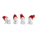 Snowman figure red cap made of poly white 4-fold s