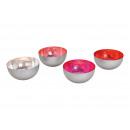 Großhandel Windlichter & Laternen: Windlicht Schale aus Metall Silber, rot, pink, ros