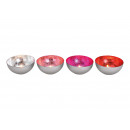 Windlight bowl in metal silver, red, pink, ros