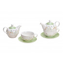 Teiera Set Flower Decor in porcellana bianca 3er S