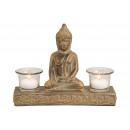 Buddha agyagból, 2 lámpás üveggel antik Gol