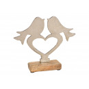 Espositore Uccello sul cuore di metallo su legno d