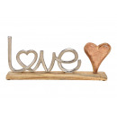 Display Lettering LOVE made of metal with mango wo