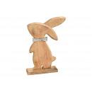 Coniglio in legno di mango con fiocco in metallo i