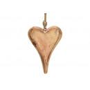 Cuore pendente in legno di mango marrone (L / A /