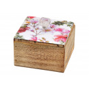 wholesale Food: Box of floral decor in mango wood multicolored (W