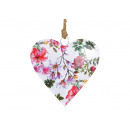 Hanging Heart Flowers Metal Decor Multicolored (B