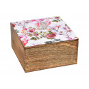 wholesale Food & Beverage: Box of floral decor in mango wood multicolored (W