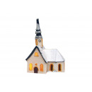 Windlicht. Church House con la neve in porcellana,