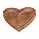 grossiste Décoration: assiette bois bois de manguier coeur marron (B / H