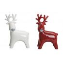 Moose in rosso in ceramica / bianco, 2 volte assor
