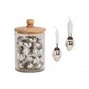 ingrosso Pendenti: Ciondolo uovo in vetro lucido (argento) (B / H / D