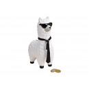 wholesale Saving Boxes: Money Box Lama with Ceramic Sunglasses White, (