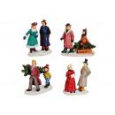 Miniatura figure di Natale da poli assortito , 6 c
