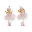 Großhandel Home & Living: Engel aus Poly, Feder Pink, gold 2-fach sortiert,
