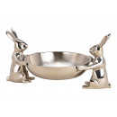 wholesale Decoration: Bowl hare made of metal silver (W / H / D) 33x16x2