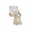 groothandel Kaarsen & standaards: Konijn met lantaarn Glas metaal zilver (B / ...