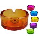 groothandel Asbakken: Glazen asbak, 6farbig gesorteerd, Ø 7 cm