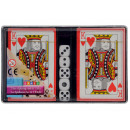 groothandel Gezelschapsspellen: Speelkaarten 2x 52 + 4 + 5 dobbelstenen Joker
