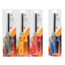 wholesale Lighters: Gas Lighter 27cm + 18ml gas 4 assorted colors