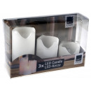 Wax candles jacket with LED Set of 3 graduated &am