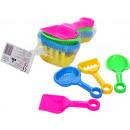 Großhandel Spielwaren: Sandspielzeug 4tlg. Schaufel, Sieb, Rechen