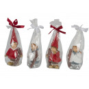 wholesale Home & Living: Christmas candle in foil with ribbon, 6 x 14.5 cm