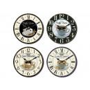 wholesale Clocks & Alarm Clocks: Clock 'coffee cup', 4 times assorted, D =