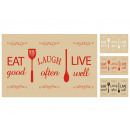 Placemats 'eat good, laugh often, live well&#3