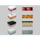 Boxenset de cartón, cuatro diseños tropicales