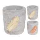 Candle in concrete candle pot 2 times assorted , 7