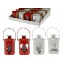 Lantern metal m. Glass white, red