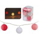 wholesale Light Garlands: LED fairy lights 10 Raphia balls 6 cm, length 180