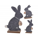 Decorative Display Easter bunny felt gray