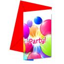 Flying Balloons - 6 Einladungskarten mit Umschlag