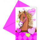 Horses - 6 invitation cards with envelope
