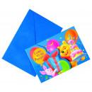 Winnie Alphabet - 6 Die-cut Einladungskarten mit U