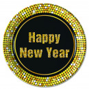 HAPPY NEW YEAR RETRO (NEW) - 8 Paper Plates Large