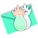Pineapples - 6 invitation cards with envelope